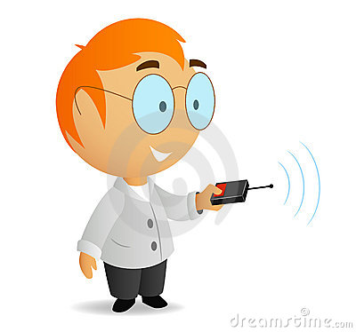 Cartoon little scientist with remote contro