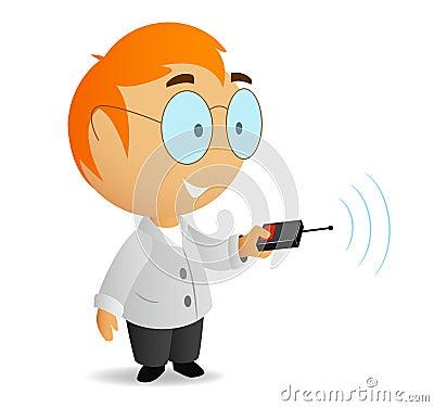 Cartoon little scientist with remote contro