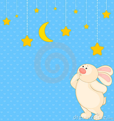 cartoon little toy bunny with stars
