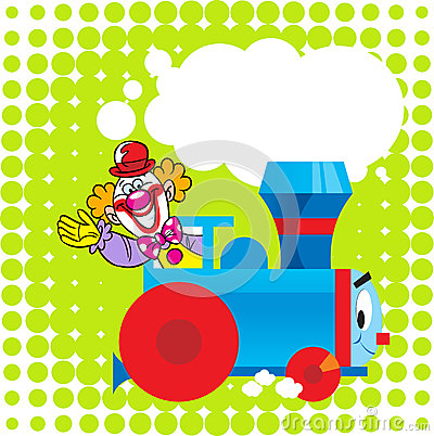 Cartoon locomotive with a clown