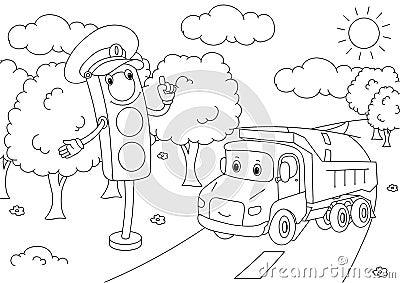 Cartoon lorry with traffic lights. Vector illustration Vector Illustration