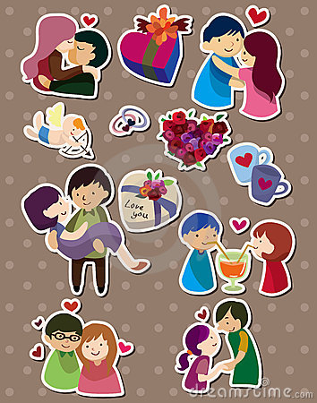 Cartoon love stickers