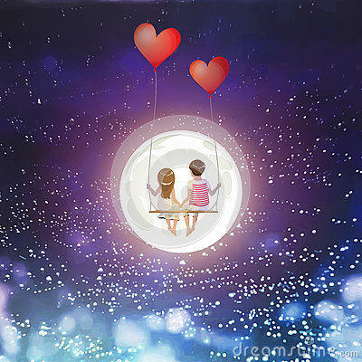 Cartoon lover couple is sitting on red heart balloon swing, being on full moon sky background, Happy Valentines Day concept, Vecto Vector Illustration
