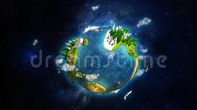 Cartoon Lowpoly Earth Planet Space Right Animated Background 3d Animation 4k Stock Footage Video Of Green Concept 173156718