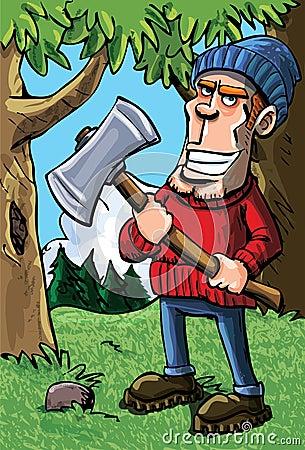 Cartoon lumberjack holding an axe