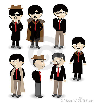 Cartoon mafia icon set