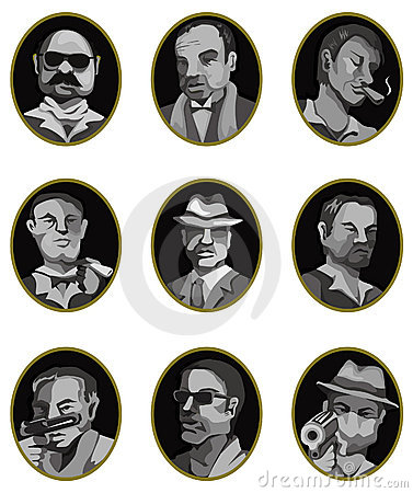 Cartoon mafia icon set,label button