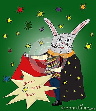 Cartoon magic conjurer rabbit