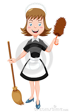Free Cartoon Maid With Broom Royalty Free Stock Photos - 27650648