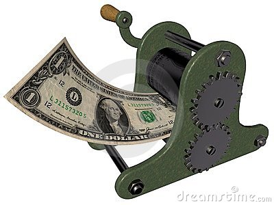 Cartoon of making money on the hand printing press