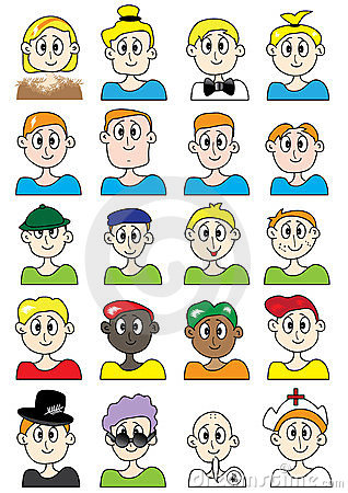 Cartoon Male Colorful Set_eps