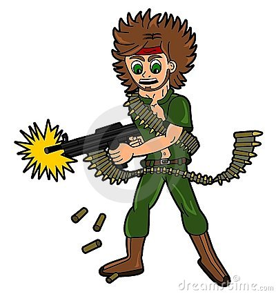 Cartoon male soldier or mercenary
