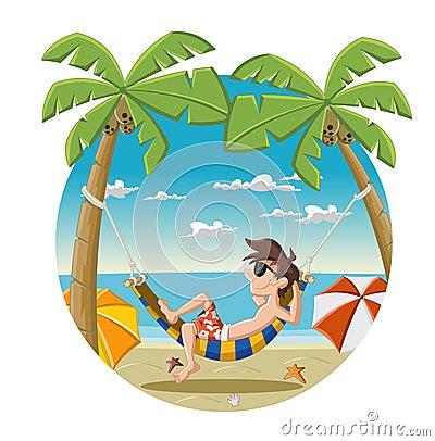 Cartoon Man On Beautiful Tropical Beach Stock Photo ...