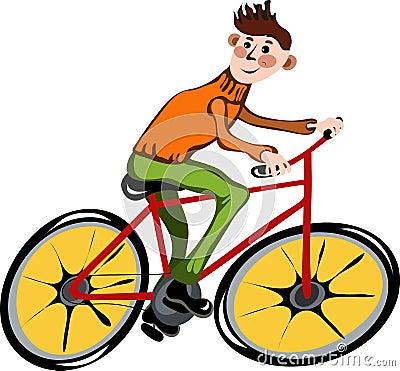 Cartoon man on the bike