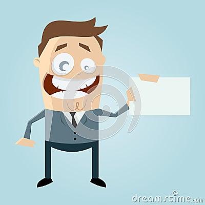Cartoon man with business card