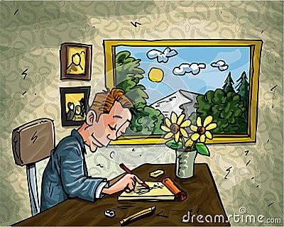 Cartoon man doodling at his desk