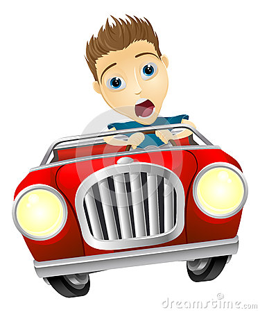 ... young man looking very scared driving fast in convertible sports car