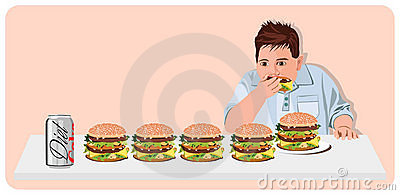 Cartoon man eating hamburgers