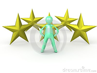 Cartoon man with five golden texas stars