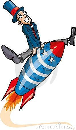 Cartoon man on a flying rocket