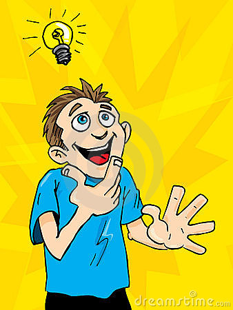 Cartoon man gets a bright idea.