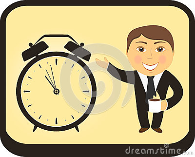 Cartoon man hold coffee cup and clock alarm