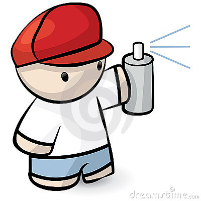 Cartoon Man Holding Spray Can