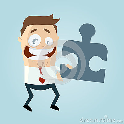 Cartoon man with jigsaw piece