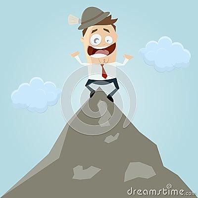 Cartoon man on mountain top