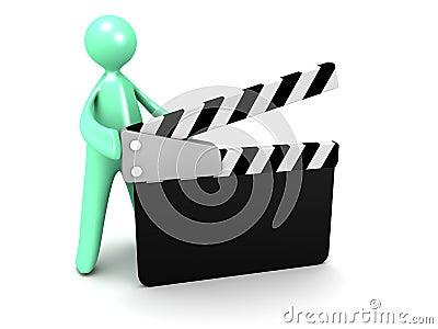 Cartoon man with Movie Clapper