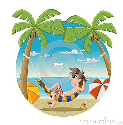 Free Cartoon Man On Beautiful Tropical Beach Stock Photo - 37048730