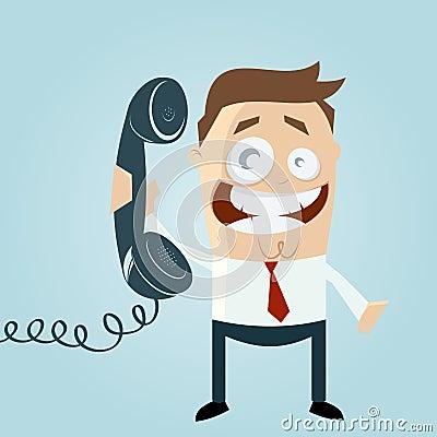 Free Cartoon Man On Phone Royalty Free Stock Photography - 29940787