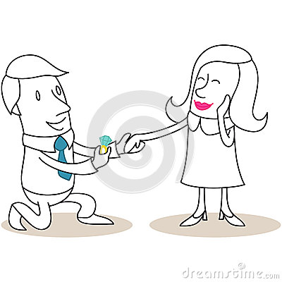 cartoon man proposing to flattered woman stock vector image 39201353. Black Bedroom Furniture Sets. Home Design Ideas