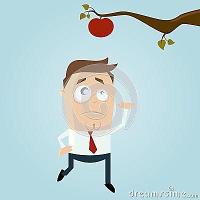 Cartoon man reaching out for an apple