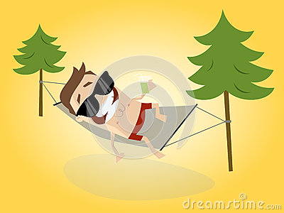 Cartoon man relaxing with hammock