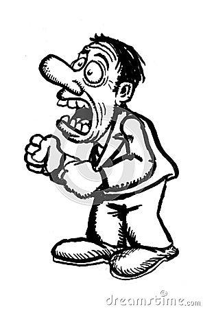 Cartoon man screaming