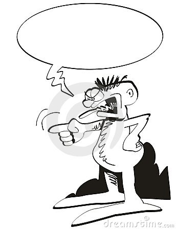 Cartoon of man screaming