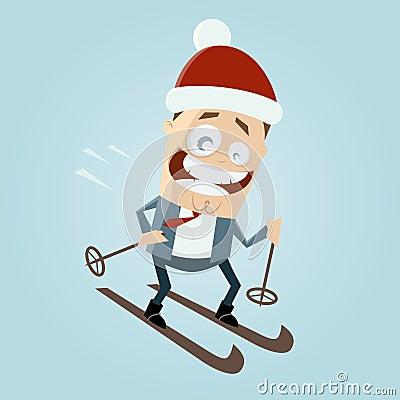 Cartoon man is skiing
