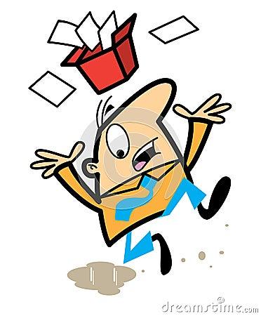 Free Cartoon Man Slipping On Spillage Royalty Free Stock Image - 13781006