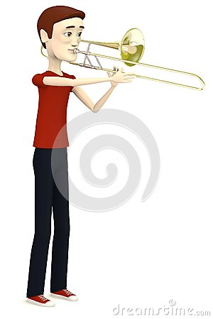 Cartoon man with trumpet