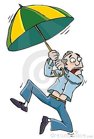 Cartoon man with an umbrellabeing whisked away