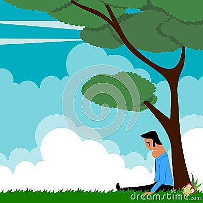 Cartoon man under tree