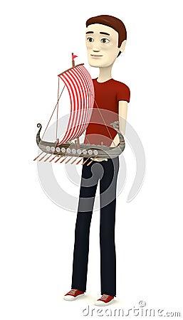 Cartoon man with vikings ship