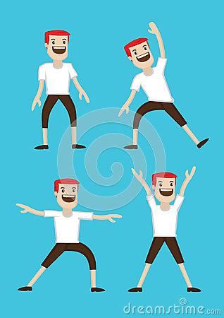 Cartoon Man Warm-up Stretching Exercises Stock Vector ...