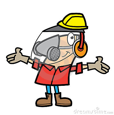 Cartoon man wearing safety equipment