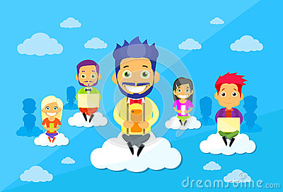 Cartoon Man and Woman People Group Sitting on Vector Illustration