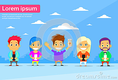 Cartoon Man and Woman People Group Use Smart Vector Illustration