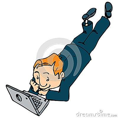 Cartoon of man working on a laptop