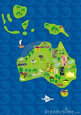 Cartoon map of australia in vector