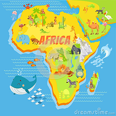 Free Cartoon Map Of Africa With Animals Royalty Free Stock Photography - 61953417